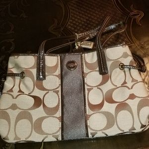 Coach Signature Stripe Carryall New F21949 Brown